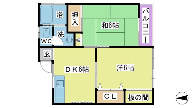 物件番号: 1025103382 梶原荘1 日田市東町 2DK アパート 間取り図