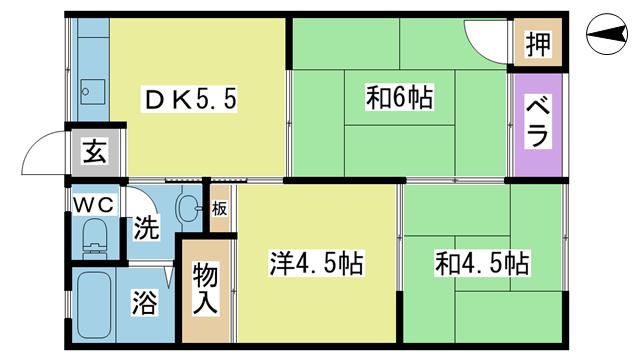物件番号: 1025103945 ながのアパート 日田市吹上町 3DK アパート 間取り図